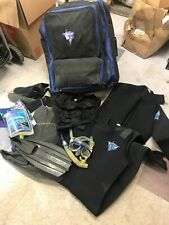 Deep See Scuba Bundle Large Duffle Bag Wetsuits Boots Hood Snorkel Gear Fins +