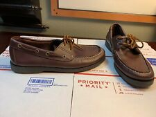 Polo Ralph Lauren Sport Men's Brown Leather Boat Shoes Slip On Loafers Size 9D
