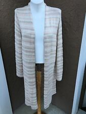 New Chico's Subtle Stripe Kennedy Cardigan Sweater Duster Top 3 = XL 16 18 NWT