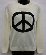 WOMENS LADIES PEACE, YOLO & MOUSTACHE PRINT KNITTED JUMPER CARDIGAN TOP UK 8-12