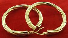 9CT YELLOW GOLD 34X5MM ROUND TWISTED TUBE CABLE HOOP  CREOLE EARRINGS GIFT BOX