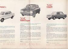 NSU 1968 UK Market Leaflet Sales Brochure Prinz 4 1000 1200 TT Ro80