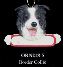 "Border Collie Ornament ""Santa's Pals"" With Personalized Name Plate #5"