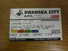 11/05/2006 BIGLIETTO: play-off semi-finale Divisione 1, Swansea City V Brentford. T