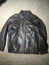 NAUTICA Men Distressed Brown BUTTERY SOFT Leather Jacket LAMB SKIN Coat 46