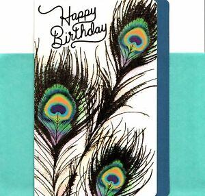 Happy Birthday Beautiful Blue & Gold Peacock Feathers Hallmark Greeting Card