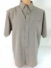 NWT TRI-MOUNTAIN MENS TAN & BROWN TWEED BUTTON FRONT CASUAL SHIRT SIZE L