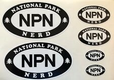 NATIONAL PARK NERD Decal Set - White Vinyl with Black - Oval Sticker - NPN