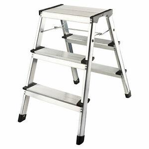 Alu Tritt KLAPPBAR Trittleiter Aluminium Klapptritt, 3 Stufen, bis 150 kg