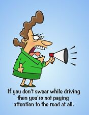 Metal Fridge Magnet Woman If Don't Swear While Driving No Attention Road Humor