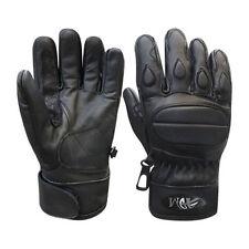 Gants noires tout cuir de vache pour motocyclette
