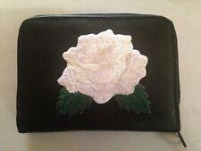 White Rose Design Leather Wallet Credit Card ID Holder Roses