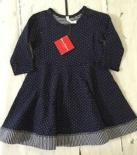 Hanna Andersson Girls Navy Reversible Dress Size 120 Nwt