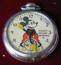 Vintage 1930's Ingersoll Mickey Mouse Pocket Watch MINTY