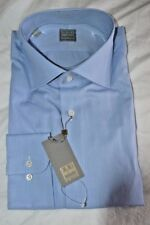 $265 NWT IKE BEHAR Gold label Blue solid 16 eu41 woven cotton dress shirt ITALY