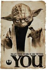 Star Wars Yoda May The Force Be With You Inspirational Poster fabric print 6X