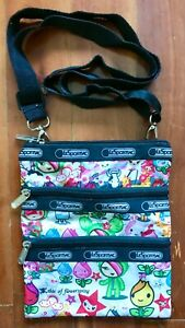 """LeSportsac TokiDoki This Of Flower's Spring 3 Zippered Crossover Bag 9""""x7.5"""""""