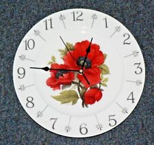 "Poppy design 11"" large bone china  wall clock - gift  boxed.Beautiful bright red"