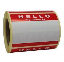 Rollo de 250 Hola mi nombre es Stickers-Rojo / Blanco-sin logotipo