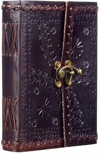 Indra Fair Trade Medium Embossed Stitch Leather Journal Diary Clasp