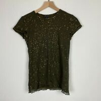 Ralph Lauren Black Label Womens Green Gold Sequin Tshirt size Small