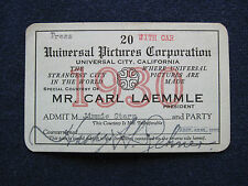ORIGINAL 1930 UNIVERSAL STUDIO SEASON PASS for Hollywood Columnist JIMMY STARR