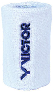 NEW Victor Double Width single towelling sweat/wrist band White/Blue 90% Cotton