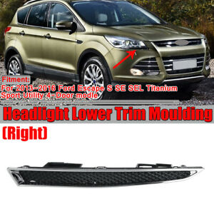 Right Passenger Side Headlight Lower Trim Moulding For Ford Escape 2013-2016
