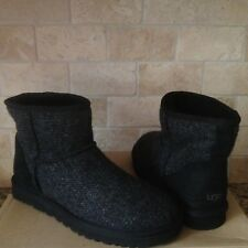 UGG Classic Mini Woolrich Donegal Sheepskin Black Winter Boots Size US 9 Me