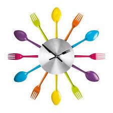 Premier Housewares Wall Clock, Multi Coloured Cutlery, Metal, Modern Design