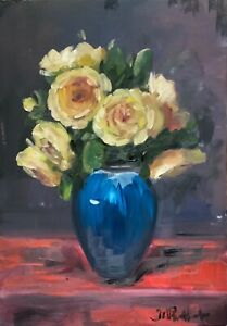 Vintage style Floral print A4 A3 gloss of matte finish yellow roses in blue vase