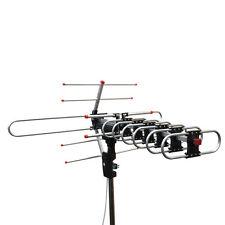 Outdoor Amplified Antenna Digital HD TV 360 Rotor 38dB UHF/VHF/FM 150 Mile Black