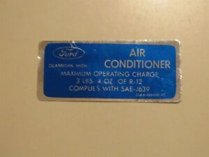1971 1972 1973 MERCURY COUGAR MONTEREY MARQUIS AIR CONDIONING A/C CHARGE DECAL