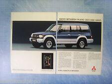 QUATTROR992-PUBBLICITA'/ADVERTISING-1992- MITSUBISHI PAJERO -2 fogli