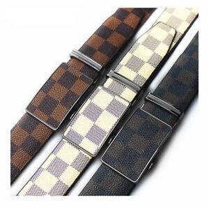 Men's Genuine Leather NoHole Dress Belt Adjustable Automatic Buckle Ratchet Belt