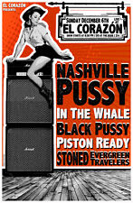 NASHVILLE PUSSY / IN THE WHALE 2015 SEATTLE CONCERT TOUR POSTER- Hard Rock Music