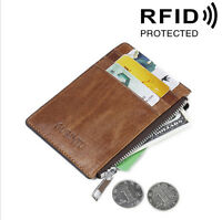 RFID Blocking Genuine Leather Wallet ID Credit Card Holder Money Clip Coin Purse