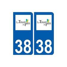 38 La Tour-du-Pin logo autocollant plaque ville arrondis