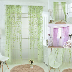 Voile Curtains Pair (2 Panels) Of Leaves Voile Net Curtain Panels -Top Quality