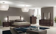 Schlafzimmer Komplett Bett Kommoden Nachttische Spiegel Hochglanz Braun  Modern