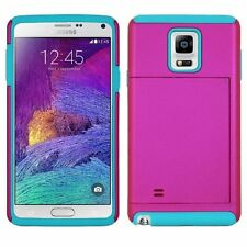 For Samsung Galaxy Note 4 Hybrid Stand Credit Card Case Cover Pink on
