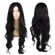 Women Black Fashion Natural Curly Long Middle Part Wavy Synthetic Hair Wigs