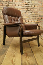 60s EASY CHAIR DANISH LEATHER ARMCHAIR DENMARK FAUTEUIL Westnofa Era Vintage
