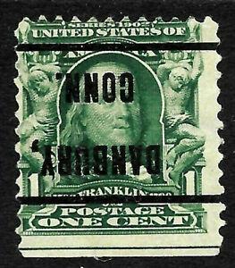 "Sc #300 ""Inverted Danbury CONN"" Precancel 1901 Regular 1 Cent Franklin US 13A46"