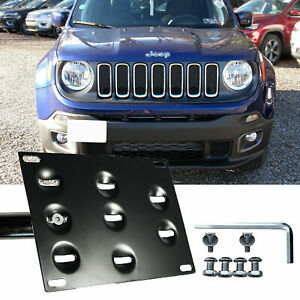 Bumper Tow Hook License Plate Bracket Mount Holder For Jeep Renegade 2015-up