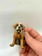 New ListingVintage Hagen Renaker Miniatures Saint Bernard Dog Figurine With Whiskey Barrel