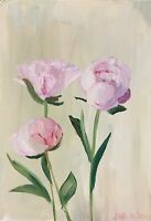 Print of Original oil painting art Peonies contemporary shabby chic home decor