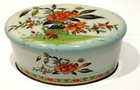 Vintage Oval Daher Floral Metal Tin Made in England