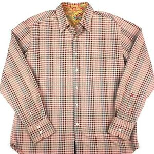 Robert Graham Mens Long Sleeve Button Up Shirt Size Large Colourful Check