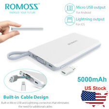 ROMOSS QS05 5000mAh Portable Charger Mini Power Bank with Built-in Charge Cable
